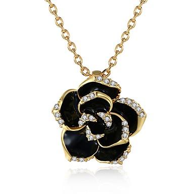 femme pendentif de collier zircon cubique forme de fleur rose zircon plaqu or rose. Black Bedroom Furniture Sets. Home Design Ideas