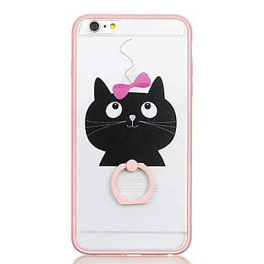 For Ring Holder Transparent Pattern Case Back Cover Case Cat Hard PC for Apple iPhone 6s Plus iPhone 6 Plus iPhone 6s iPhone 6