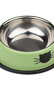 Cat Pattern Stainless Style Pet Bowl