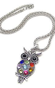 gun farve belagt farverige ugle legering zircon halskæde