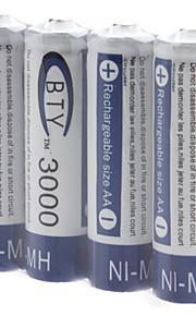 BTY AA 3000mAh oplaadbare Ni-MH batterijen (1.2V, 4-pack)