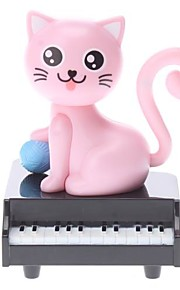 Solar Powered Cat Piano Hoved ryster Desktop Toy (Random Color)