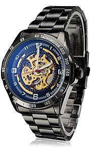 Masculino Relógio de Pulso Automático - da corda automáticamente Gravação Oca Aço Inoxidável Banda Preta marca- SHENHUA