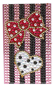 Colorful Bowknot Style with White Heart Jewelry Protective Body Sticker for Cellphone