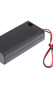"""Plastic opbergbox geval houder voor 2xAA 2A Cells Batterij met 6 """"Wire Leads"""
