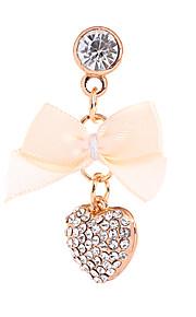 Bowknot And Peach Heart Alloy Chain Zircon Anti-dust Plug