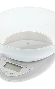 WH-B05 Kitchen 1.5' LCD Digital Bench Scale with Container Bowl - White (2 x AAA)