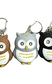 Coruja estilo 2-LED Blue Light Flashlight Keychain - Brown + Branco + Laranja (cor aleatória)