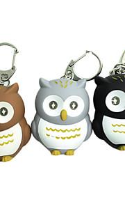 Owl Style 2-LED Blue Light lommelygte nøglering - Brun + White + Orange (tilfældig farve)