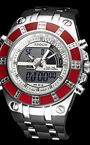 Masculino Relógio Militar Quartzo Japonês LCD / Calendário / Cronógrafo / Impermeável / Dois Fusos Horários / alarme Borracha Banda Preta