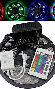 Vanntett 5M 300X3528 Smd RGB LED stripe lys og 24Key Remote Controller og AC110-240V til Dc12V3A Trafo
