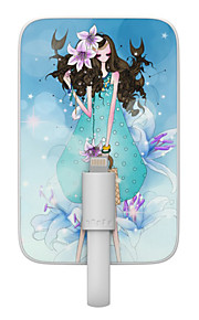 OUNUO 3200mAh Exquisite Craft Cancer Beauty Pattern 7mm Thickness External Battery with Built-in 8-Pin Cable