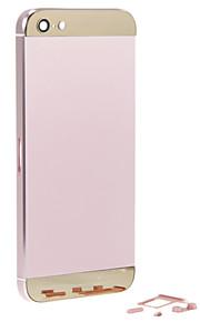 Rosa Liga de Metal Voltar Bateria Caixa com Button e vidro do ouro para o iPhone 5