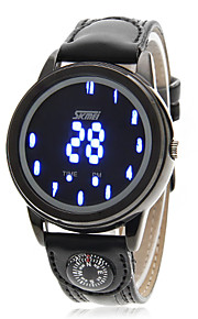 Masculino Relógio Esportivo Digital LED / Compass / Calendário / Impermeável Couro Banda Preta marca- SKMEI