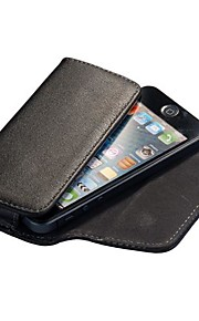 Black Lichee Pattern Magnetic Flip Leather Wallet Case for iPhone 4S/5S/5C