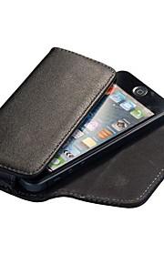 Svart Lichee Mönster Magnetic Flip Läderfodral till iPhone 4S/5S/5C