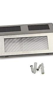 Hvit 2 LED Soldrevet Veggmontert Trapper Rustfritt stål lampe