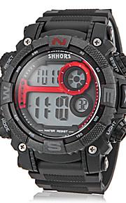 banda de silicone digital multi-funcional lcd rodada relógio de pulso desportivo dos homens (cores sortidas)