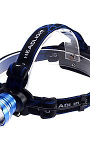 Iluminação Lanternas de Cabeça LED 1200 Lumens 3 Modo Cree XM-L T6 18650.0Prova-de-Água / Recarregável / Super Leve / Tamanho Compacto /