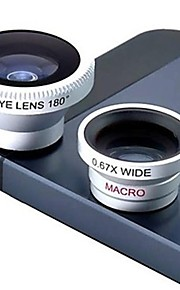 Magnetic 3 i 1 vidvinkelobjektiv / Makro lens/180 Fish Eye Lens / Kit til iPhone 5/4 / iPad / Mobiltelefon