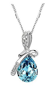 Eruner® Classic (Angel Tears) Platinum-Plated Crystal Necklace(Blue and Purple and Champagne and Red and Green)