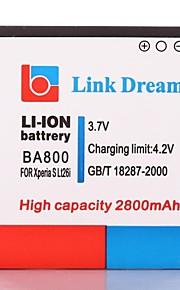 Enlace Dream High Quality 3.7V 2800mAh de la batería del teléfono celular para Sony Xperia S LT26i del arco HD BA800 2800mAh (BA800)