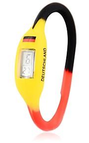 Unissex Bandeira alemão Projeto Silicone Digital Bracelet Watch Football Cup Presente