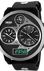skmei® relógios grandes de discagem três fusos horários dos homens 50m à prova d'água