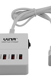 Vina ups-006 Portable Smart 5A High Speed ​​4-Port USB snellader Met Power Adapter-Black (US Plug)