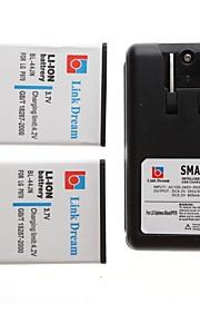 enlace sueño 2 x batería del teléfono celular + cargador para lg p970 MS840 l5 25001 (2500 mah)