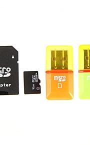 16gb class 6 MicroSDHC tf kort med sd sdhc adapter og usb kortleser tilfeldig farge