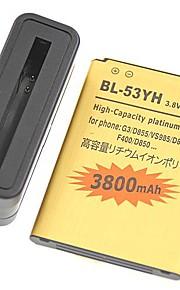 alta capacidad de las baterías 3800mAh 3.8v baterías y cargador para g3 lg