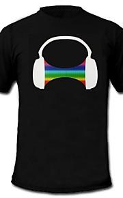 herre lyser førte t-shirt hovedtelefon mønster lyd og musik aktiveret equalizer til fest bar raver