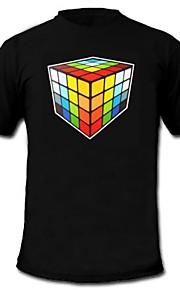 herre lyser førte t-shirt Rubiks terning mønster lyd og musik aktiveret equalizer til fest bar raver