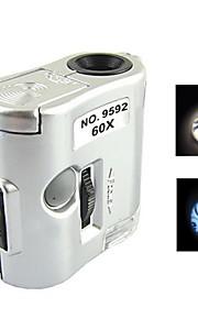 mini 60x forstørrelse mikroskop med LED lommelygte og afsløring lys valuta (3 x LR43)