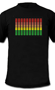 lyd og musik aktiveret spektrum VU-meter el visualizer ledede t-shirt (2 * AAA)