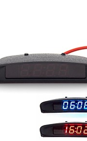 Original Car Interior Trim Appearance 3-In-1 Car Clock Theromometer and Voltage Monitor (12-24V)