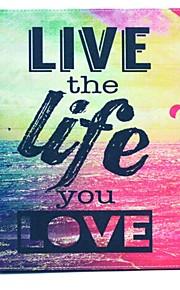 leva livet du älskar mönster PU läder hela kroppen fodral med ställ för iPad 2/3/4