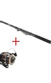 Fishing Rod + Reel / Fishing Rod / Telespin Rod Telespin Rod Carbon 216 M Sea Fishing Rod & Reel Combos Black