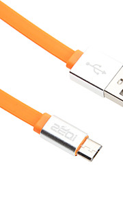 95CM Micro USB Aluminum Noodle Cable for HTC/Xiaomi/Huawei(Green,White,Orange,Black,Blue)