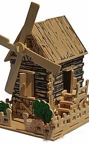 3d træ land vindmølle model