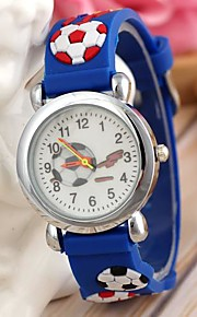 estilo dos esportes relógio pulseira de silicone de futebol de pulso de quartzo azul infantil (1pc)