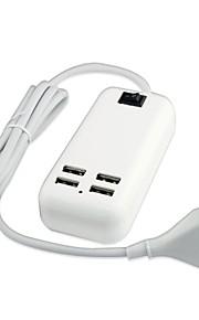 4 usb adattatore di alimentazione del caricatore a muro porta desktop per iphone / ipad ed altri (15w, DC5V 3a, 100 ~ 240V, spina eu, 1.5m)