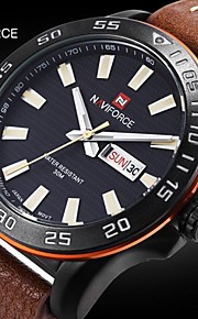 Masculino Relógio de Pulso Quartzo Japonês Calendário / Impermeável Couro Banda Preta / Marrom marca- NAVIFORCE