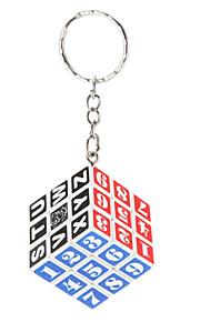 Crianças / adultos branco 3x3x3 plástico chaveiro quebra-cabeça mágica (número)