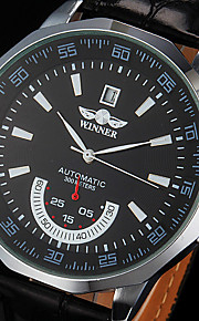 couro preto relógio pulseira masculina auto-mecânico