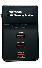 3-port stazione di ricarica di uscita usb portatile pioppo w / eu cavo spina nera per iPhone e altri (100 ~ 240V)