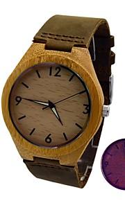 relógio de bambu caixa de madeira pulseira de couro de vaca real luminosa relógio de pulso retro dos homens