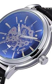 Masculino Relógio Esqueleto Automático - da corda automáticamente Gravação Oca PU Banda Preta marca- SHENHUA