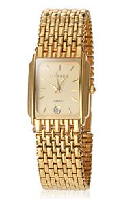Casal Relógio de Moda Quartz Aço Inoxidável Banda Relógio de Pulso Dourada